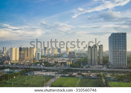 Aerial view of Hanoi skyline cityscape. Khuat Duy Tien street view, Cau Giay district - stock photo