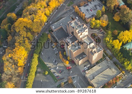 Aerial view of Harborview Medical Center in Seattle, WA at Sunset
