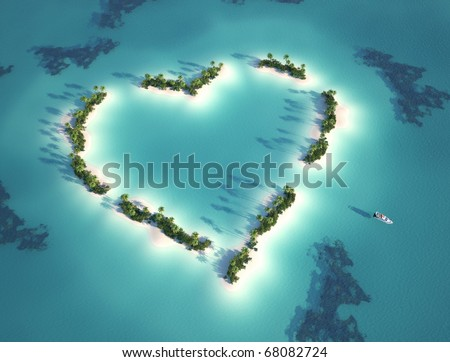 aerial view of heart shaped island with yacht as concept for romantic vacation - stock photo
