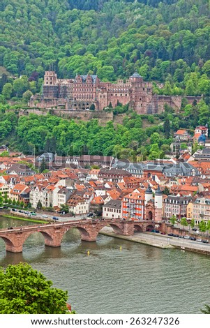 Aerial view of Heidelberg old town, Germany - stock photo
