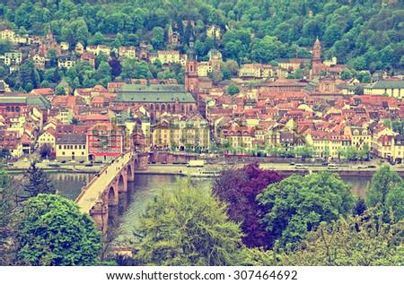 Aerial view of Heidelberg old town in spring, Germany (Instagram filter) - stock photo