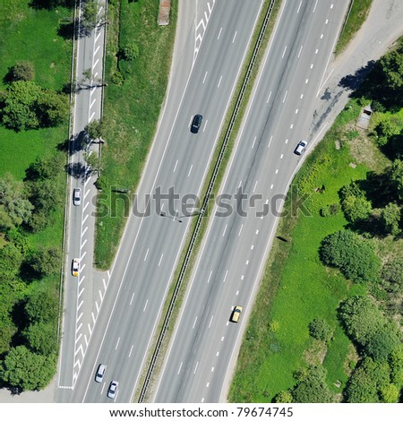 Aerial view of highway - stock photo