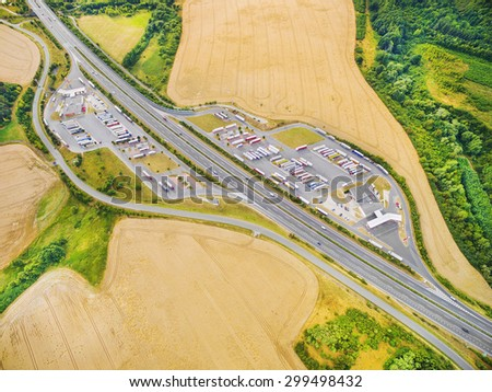 Aerial view of highway D5 gasoline station with parking nearby Pilsen, Czech republic, Central Europe. Transportation concept.  - stock photo