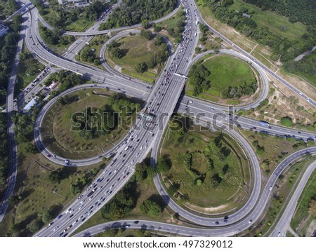 Aerial view of highway intersection in Kuala Lumpur, Malaysia.