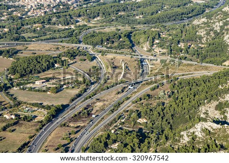 aerial view of highway near Marseille, France
