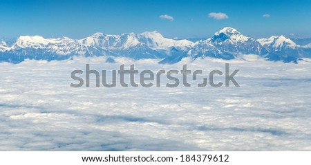 Aerial view of himalayas range - Dhaulagiri Himal - Nepal - stock photo