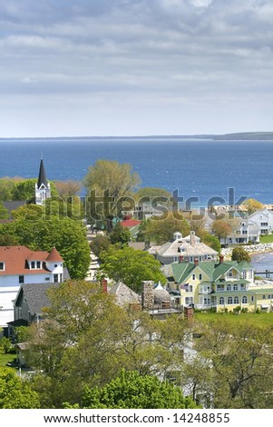 Aerial view of historic Mackinac island during spring time - stock photo