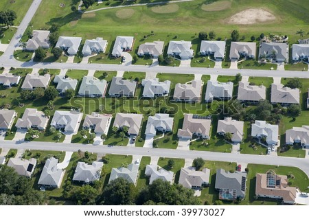 Aerial view of homes in a large residential community