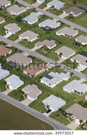 Aerial view of homes in a large residential community - stock photo