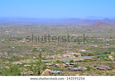 Aerial View of Homes in Scottsdale, Arizona - stock photo