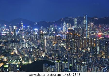 Aerial view of Hong Kong city  - stock photo