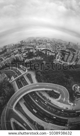 Aerial view of Hong Kong City black and white