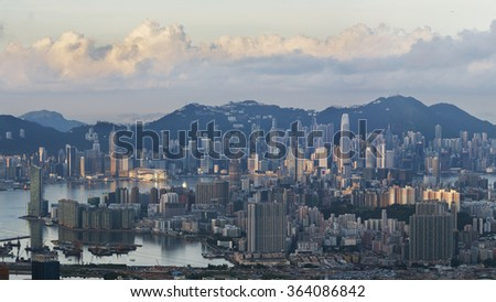 Aerial view of Hong Kong City in the morning - stock photo