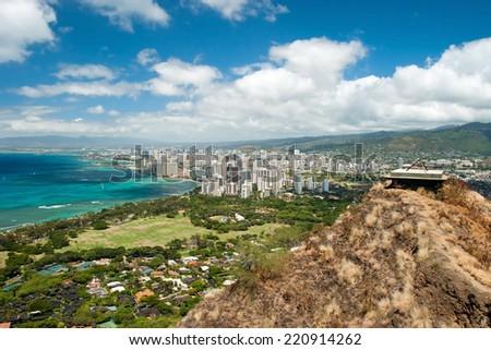 Aerial view of Honolulu and Waikiki beach from Diamond Head - stock photo
