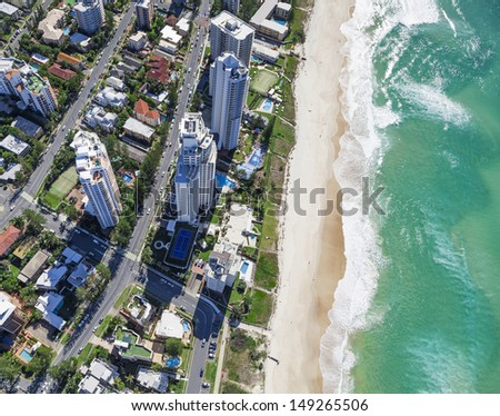 Aerial view of hotels and resorts in Surfers Paradise, Gold Coast, Australia - stock photo