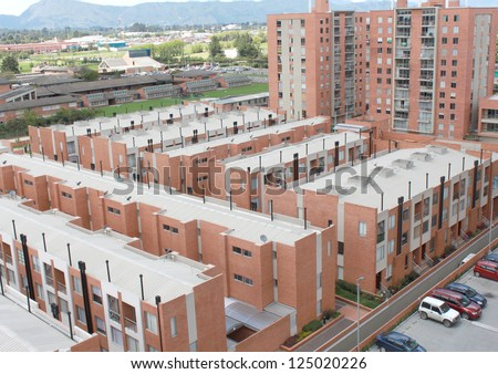 Aerial view of houses in typical home - stock photo