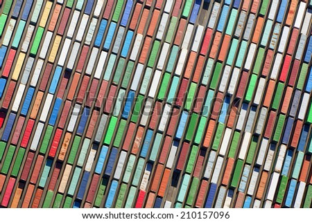Aerial view of huge area with stacked cargo containers at the port of Hamburg - stock photo
