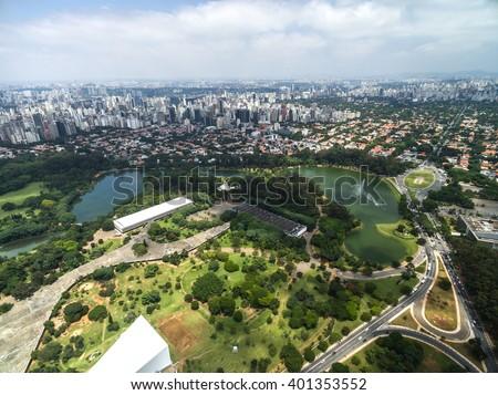 Aerial view of Ibirapuera in Sao Paulo, Brazil - stock photo