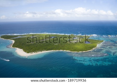 Aerial view of Icacos Island Puerto Rico. - stock photo