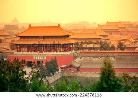 Aerial view of Imperial Palace in Beijing in red tone, China. - stock photo