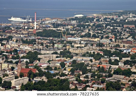 Aerial view of industrial area by the sea, city Liepaja. - stock photo