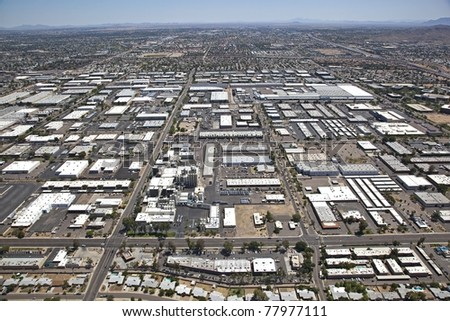 Aerial view of Industrial Area in Tempe, Arizona - stock photo