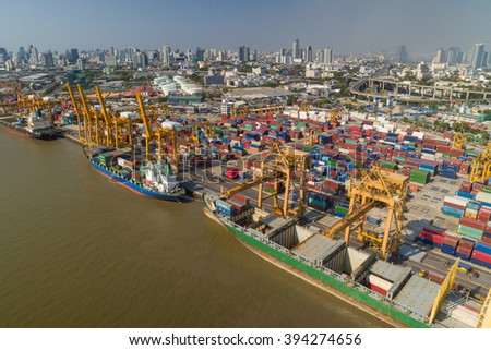 Aerial view of Industrial shipping port in Bangkok, Thailand