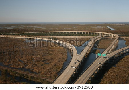 Aerial view of interstate 10 junction near New orleans - stock photo