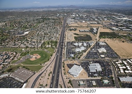 Aerial view of Interstate 10 near Warner Road along the Phoenix/Tempe border - stock photo