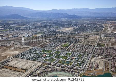 Aerial view of Interstate 10, RV Resort and Indio, California - stock photo