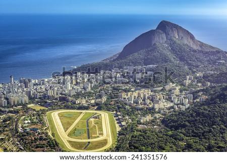 Aerial view of Ipanema Beach and race track, Rio de Janeiro - stock photo
