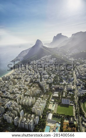 Aerial view of Ipanema Beach with high mountains in Rio de Janeiro,Brazil. Light leaks - stock photo