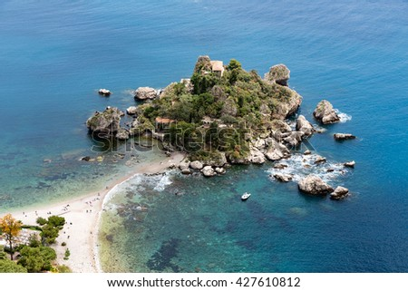 Aerial view of island and Isola Bella beach at the Mediterranean Sea in Taormina, Sicily, Italy