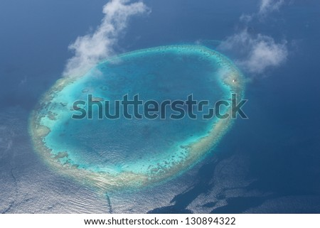 aerial view of island in the Maldives, Indian Ocean