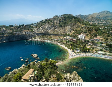 Aerial View of island Isola Bella at Taormina, Sicily - stock photo