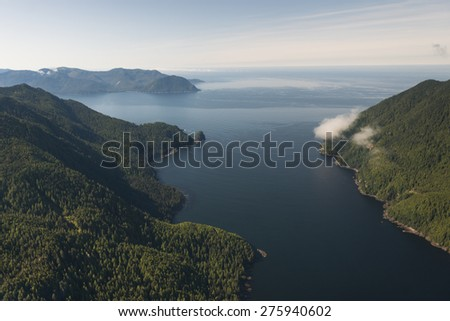 Aerial view of islands in the Pacific Ocean, Skeena-Queen Charlotte Regional District, Haida Gwaii, Graham Island, British Columbia, Canada - stock photo