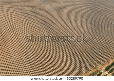 Aerial View of Israel countryside , Plowed Field plougged in a row. - stock photo