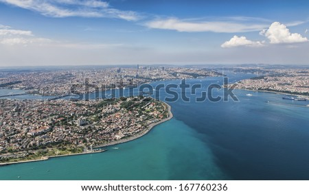 Aerial view of Istanbul - stock photo