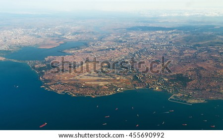 aerial view of Istanbul from airplane