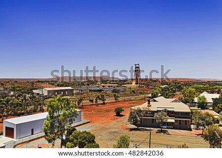Aerial view of Kalgoorlie Boulders town in Western Australia - mining settlement to dig gold ore from the biggest open pit mine in Australia.
