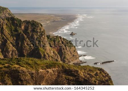 aerial view of Karekare beach, New Zealand - stock photo