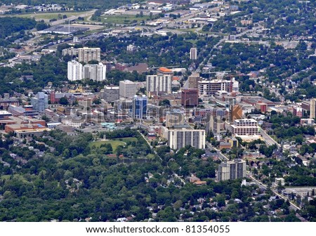 aerial view of  Kitchener town center Kitchener-Waterloo, Ontario Canada - stock photo