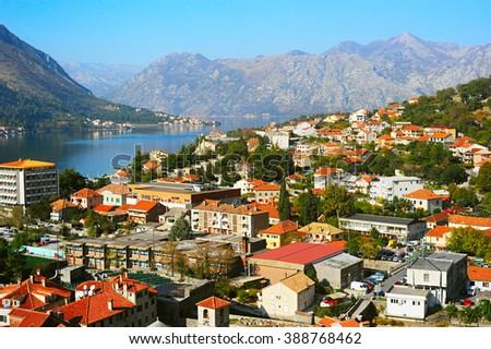 Aerial view of Kotor, Montenegro - UNESCO World Heritage Site - stock photo