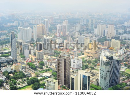 Aerial view of Kuala Lumpur from KL Tower - stock photo