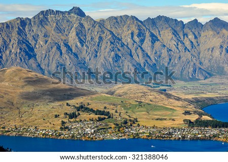 Aerial view of Lake Tekapo skyline, New Zealand - stock photo
