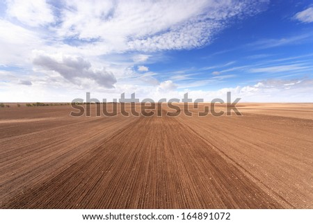 Aerial view of land the cultivated soil - stock photo