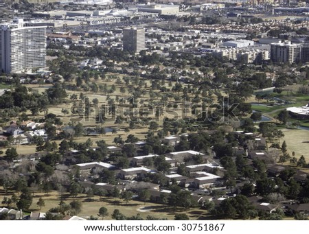 Aerial view of Las Vegas golf course - stock photo
