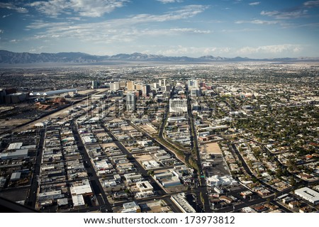 Aerial view of Las Vegas taken fpom Stratosphere - stock photo