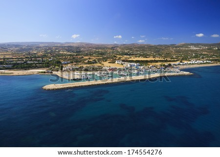 Aerial view of Latchi marina, Paphos area, Cyprus
