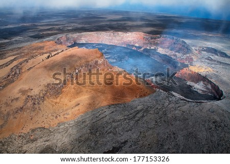 Aerial view of lava lake of Puu Oo crater of Kilauea volcano in Big island, Hawaii - stock photo